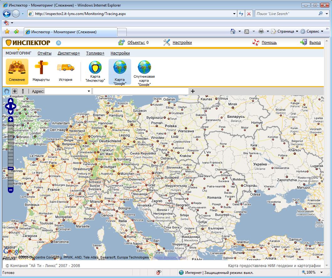 Карта Google - система GPS мониторинга Инспектор (вторая версия)