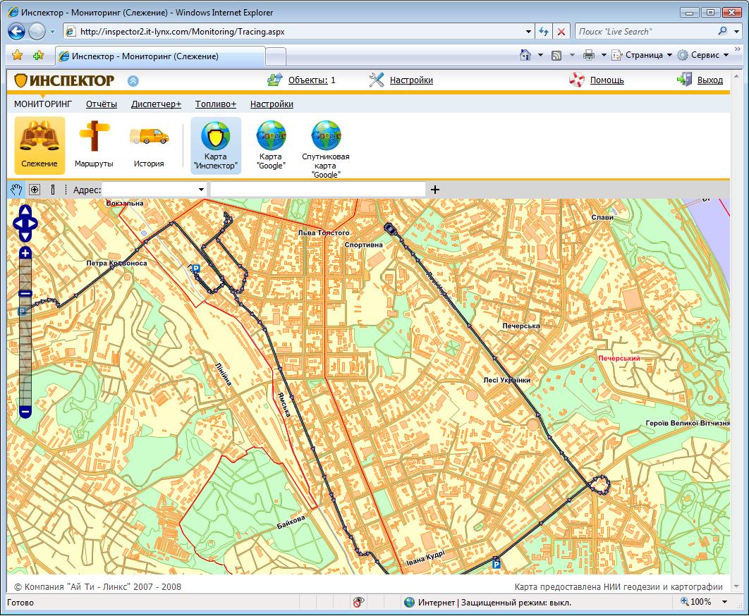 Внешний вид системы GPS мониторинга Инспектор - вторая версия