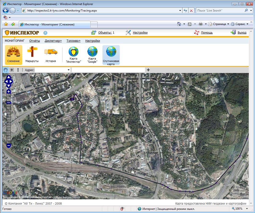 Карта Google спутниковая - система GPS мониторинга Инспектор (вторая версия)