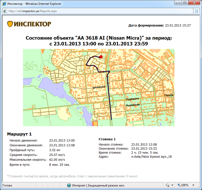 Система GPS мониторинга Инспектор, отчет - информация об объекте за период