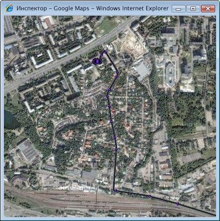 Система GPS мониторинга Инспектор - просмотр положения объекта на спутниковой карте Google Maps.