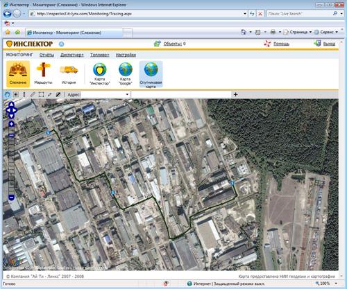 Завод Радикал - маршрут на спутниковой карте Google